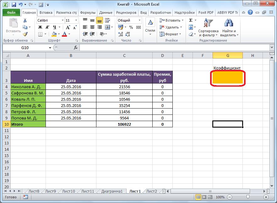 Искомая ячейка в Microsoft Excel