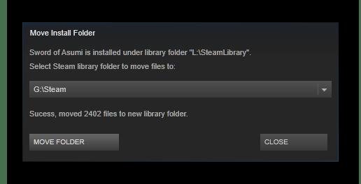 Отчет о перемещении Steam