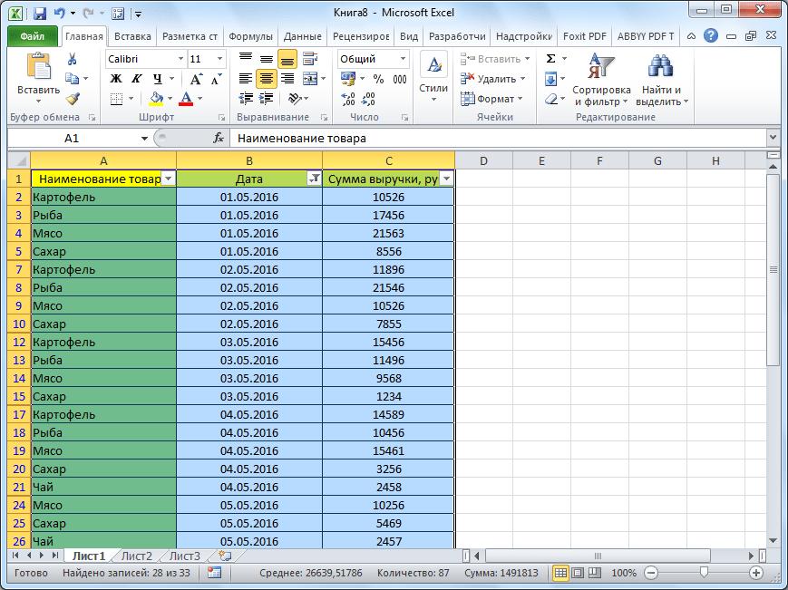 Пустые ячейки скрыты в Microsoft Excel