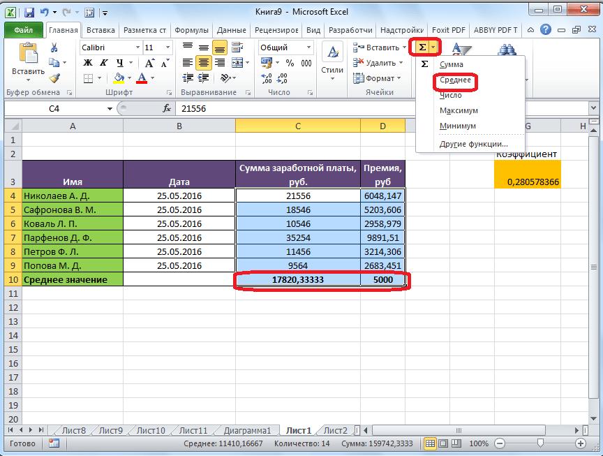 Среднее арифметическое в Microsoft Excel для двух столбцов