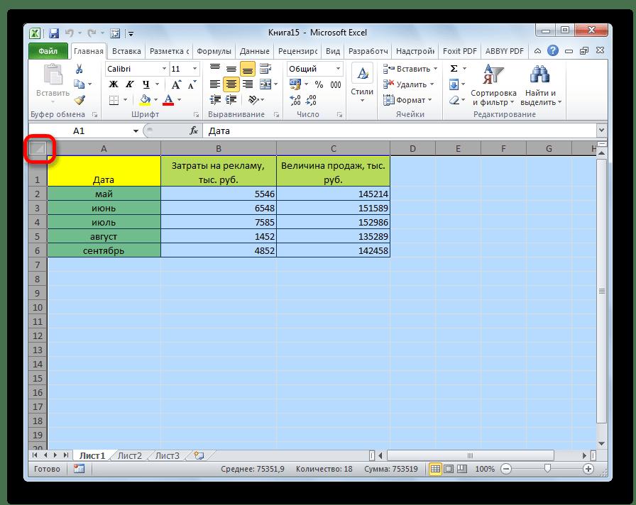 Выделение всего листа в Microsoft Excel