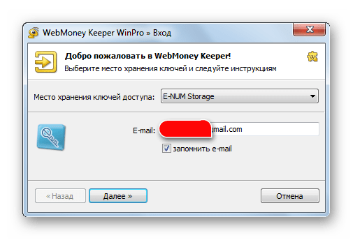 ввод e-mail в WebMoney Keeper WinPro