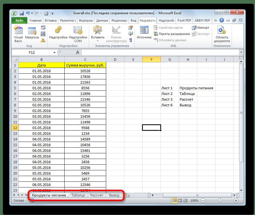 Результаты группового переименования в Microsoft Excel