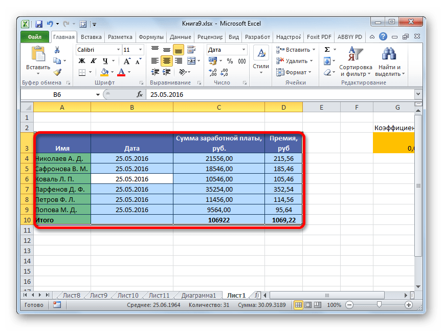 Таблица выделена в Microsoft Excel