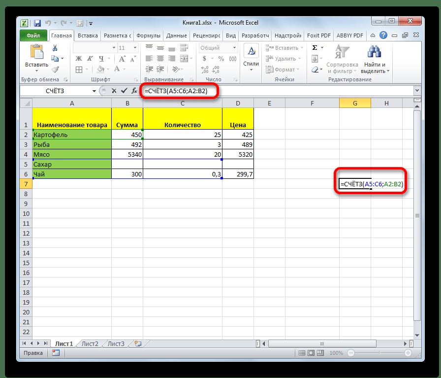 Введение вручную функции СЧЁТЗ в Microsoft Excel