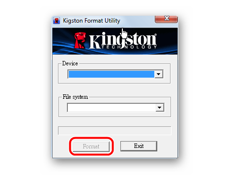 окно программы Kingston Format Utility