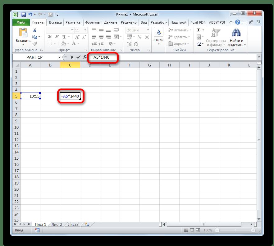 Формула преобразования времени в Microsoft Excel