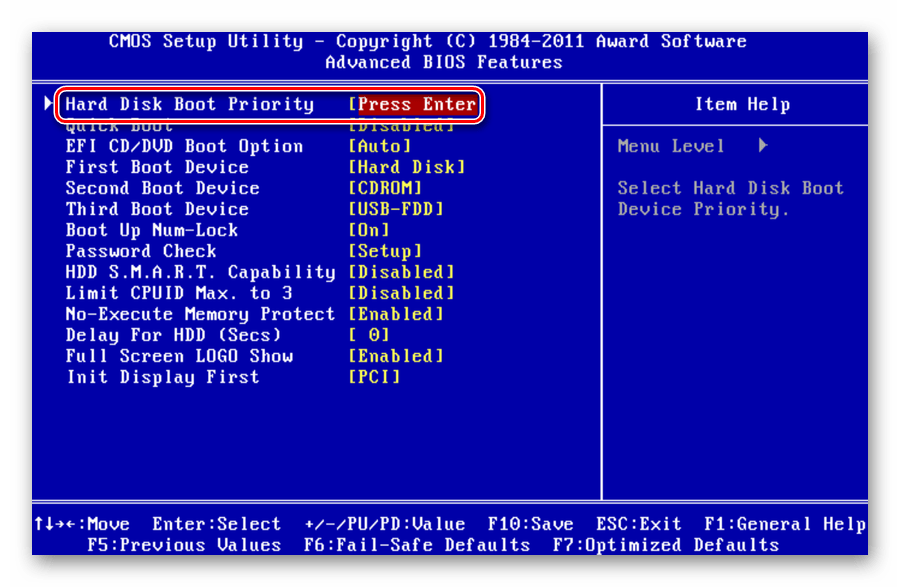 Hard Disk Boot Priority в Award BIOS