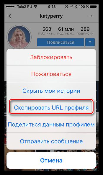 Копирование URL профиля в Instagram