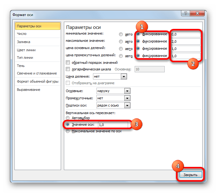 Настройка горизонтальной оси в Microsoft Excel
