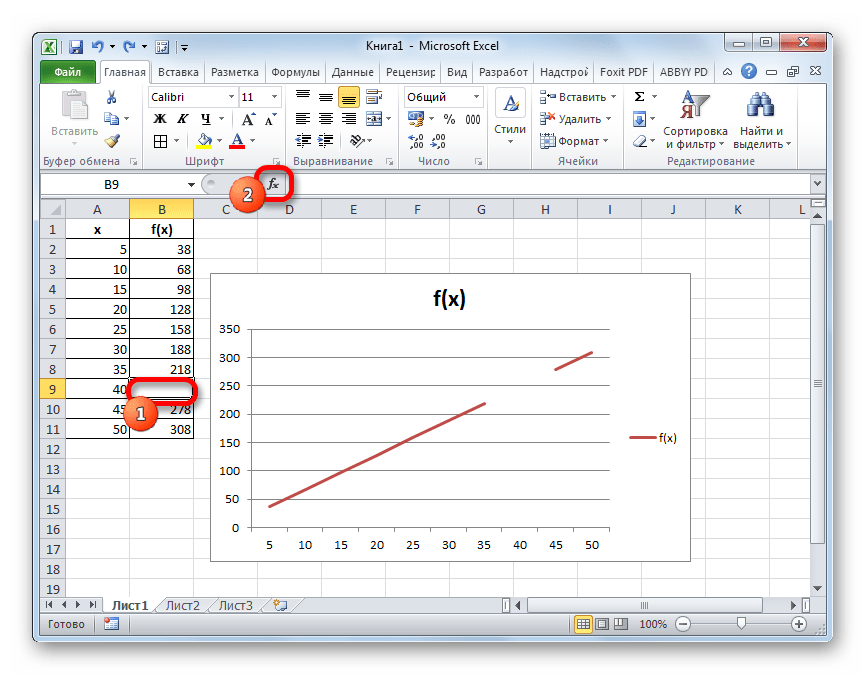 Перемещение в Мастер функций в программе Microsoft Excel