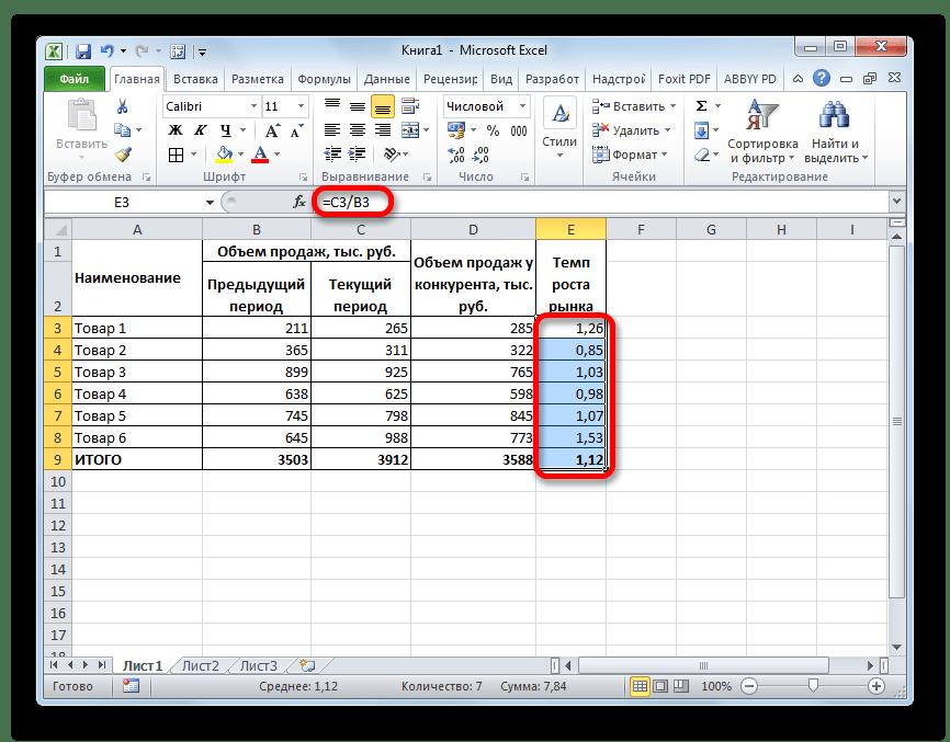 Расчет темпа роста рынка в Microsoft Excel