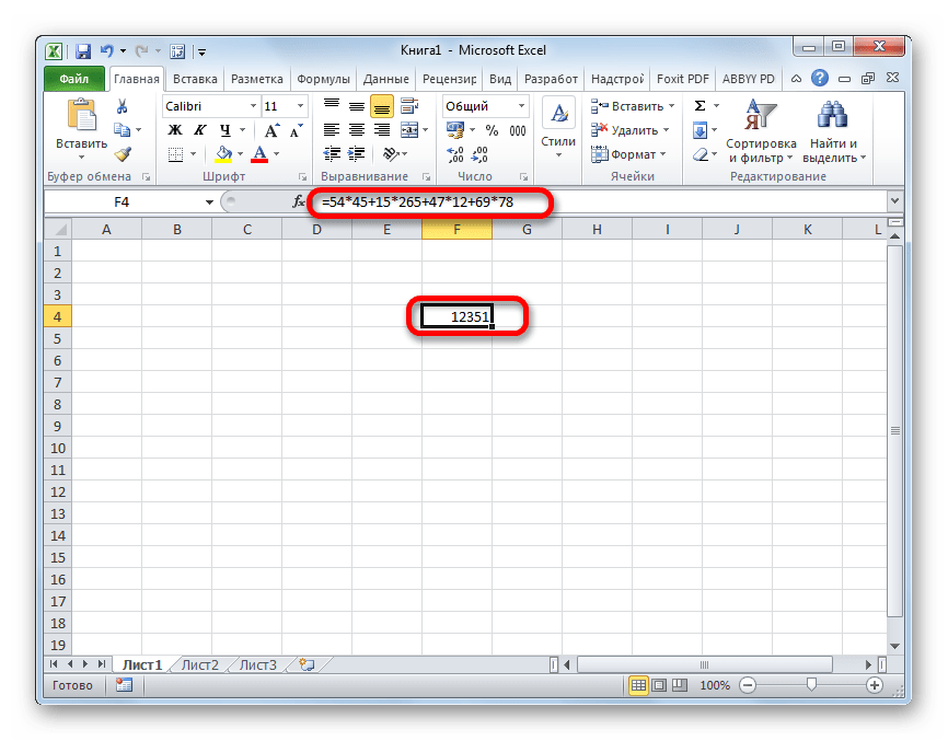 Результат расчета формулы суммы произведений в Microsoft Excel