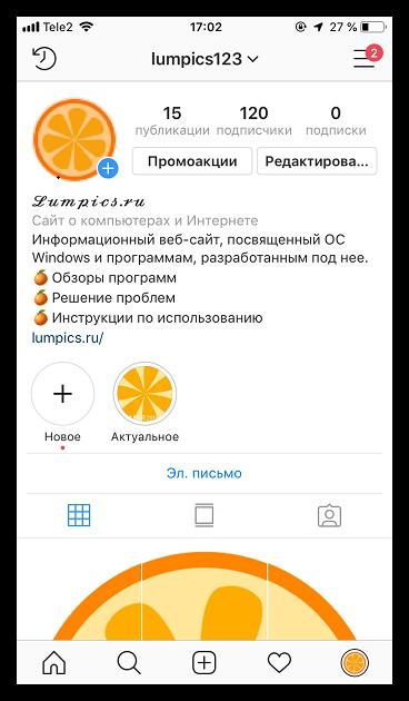 Страница профиля в Insstagram