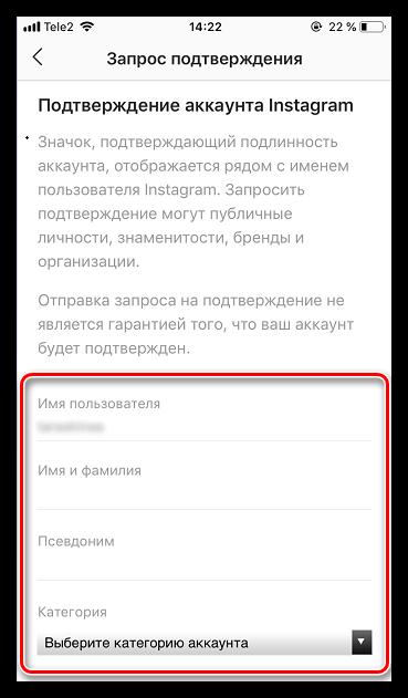 Заполнение фотрмы на подачу запроса подтверждения в Instagram