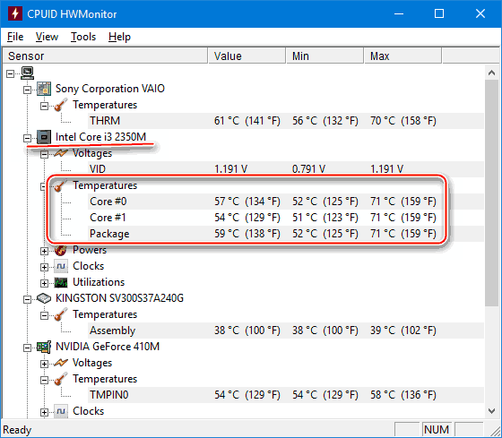 CPUID HWMonitor интерфейс