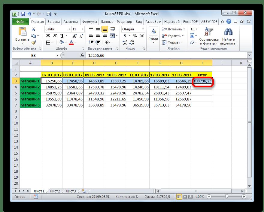 Автосумма подсчитана в Microsoft Excel