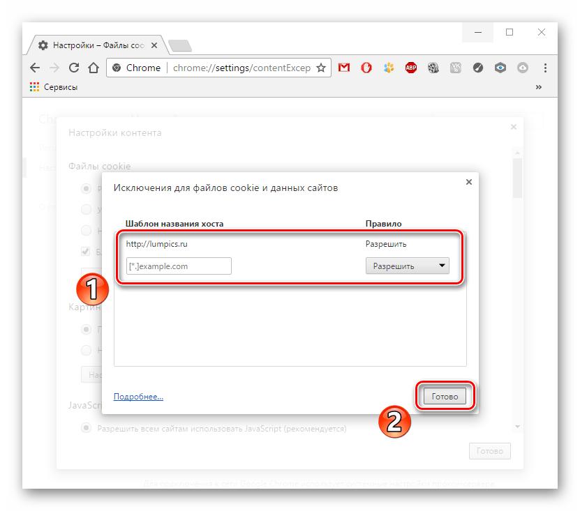 Исключения для файлов куки Google Chrome