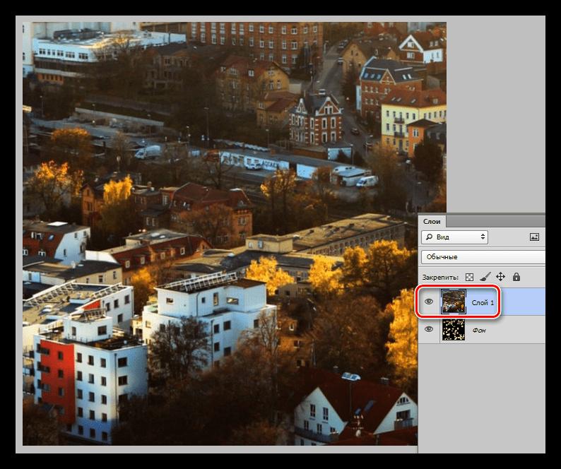 Результат перемещения слоя содержащего изображение на целевой документ при закрашивании фона в Фотошопе