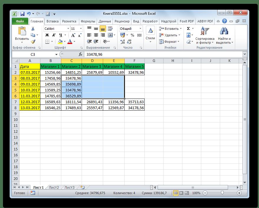 Удаление с помощью горячих клавиш выполнено в Microsoft Excel