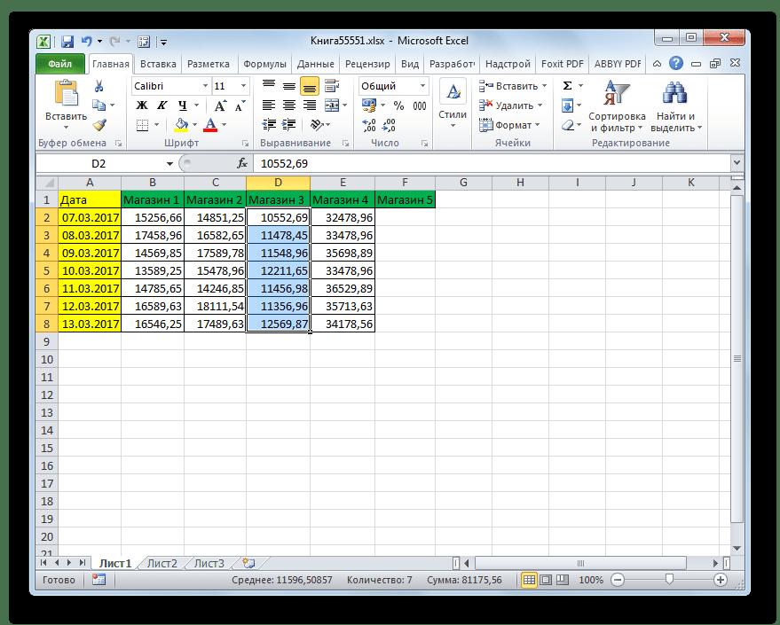 Вертикальная группа ячеек удалена через кнопку на ленте в Microsoft Excel