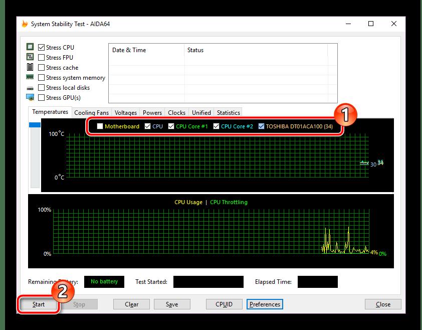 Включить показатели для графиков в программе AIDA64