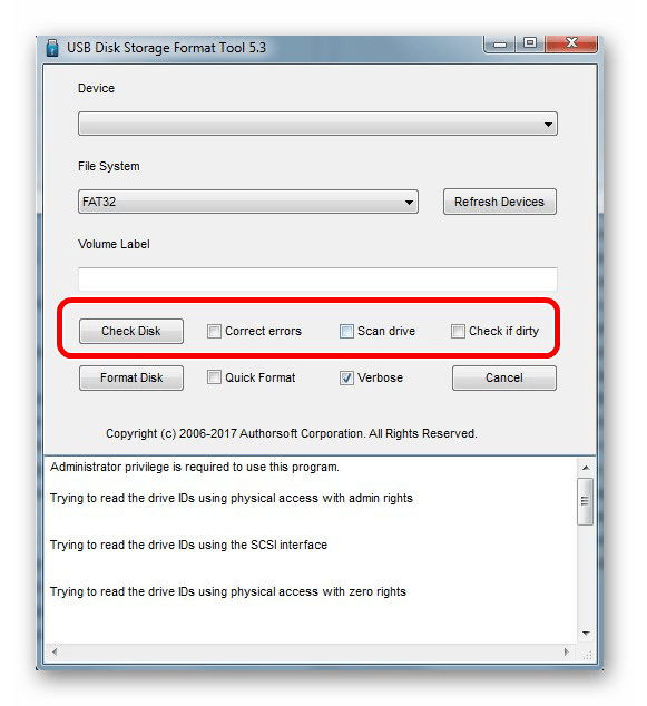 кнопка Check disk HP USB Disk Storage Format Tool