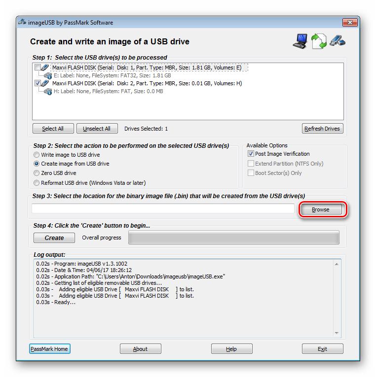 кнопка browse в окно сохранения образа в Pass Mark Image USB