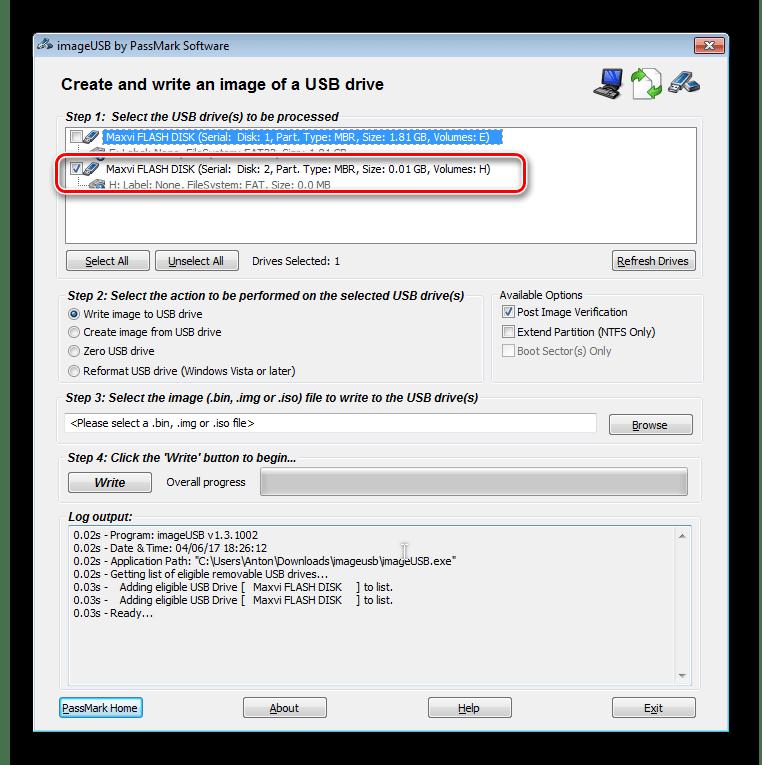 нужный накопитель в окно сохранения образа в Pass Mark Image USB