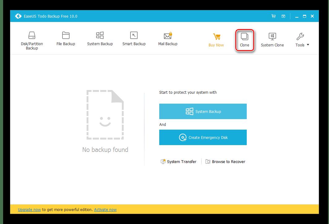 Кнопка клонирования в EaseUS Todo Backup