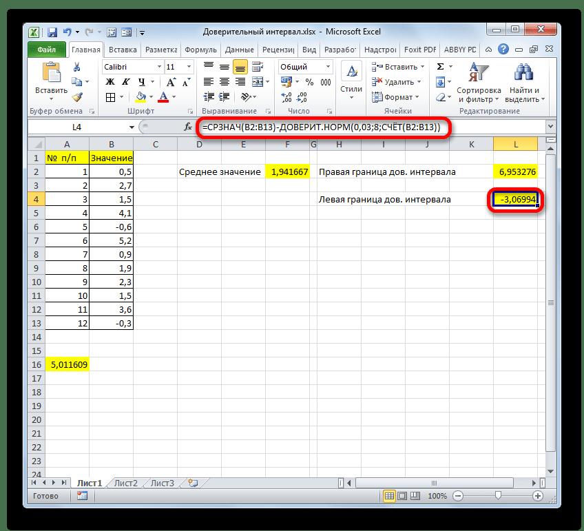 Левая граница доверительного интервала одной формулой в Microsoft Excel