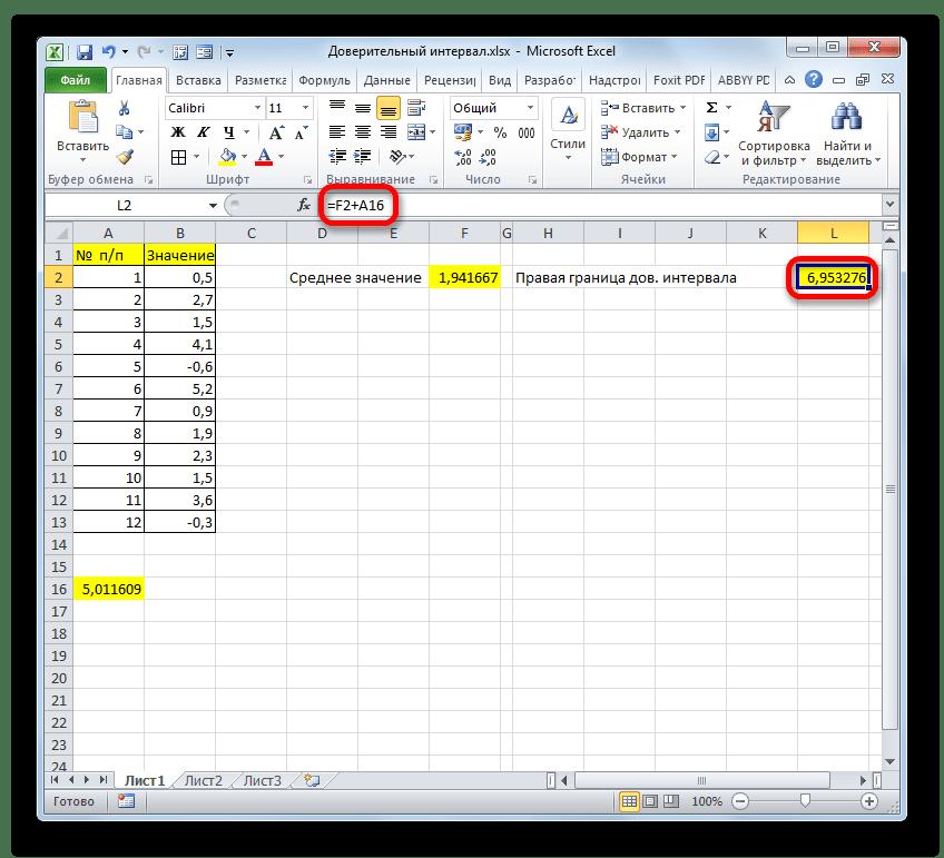 Правая граница доверительного интервала в Microsoft Excel