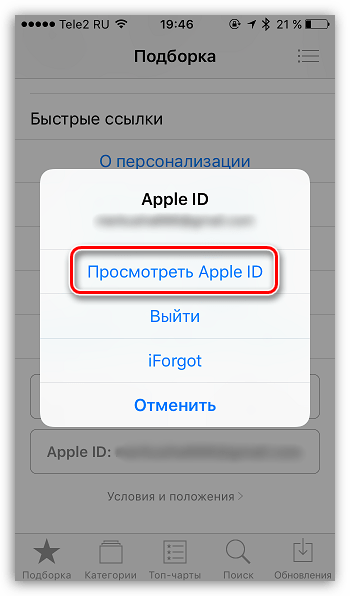 Просмотр Apple ID на iPhone