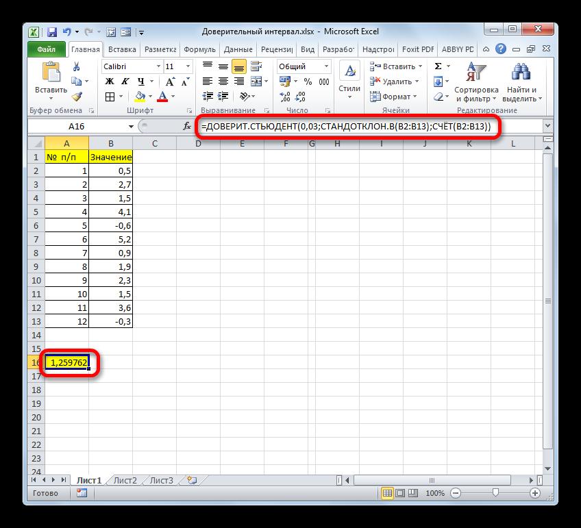Результат вычисления функции ДОВЕРИТ.СТЬЮДЕНТ в Microsoft Excel