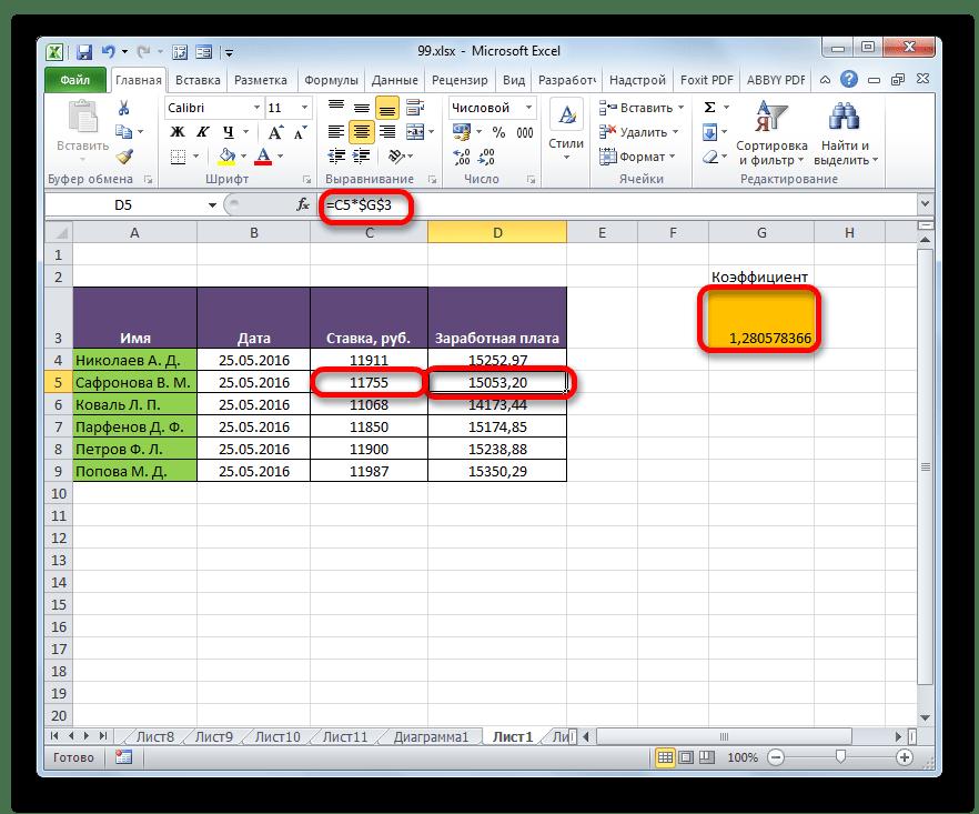 Скопирорванная формула в программе Microsoft Excel