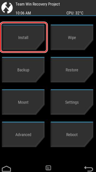 TWRP установка кнопка