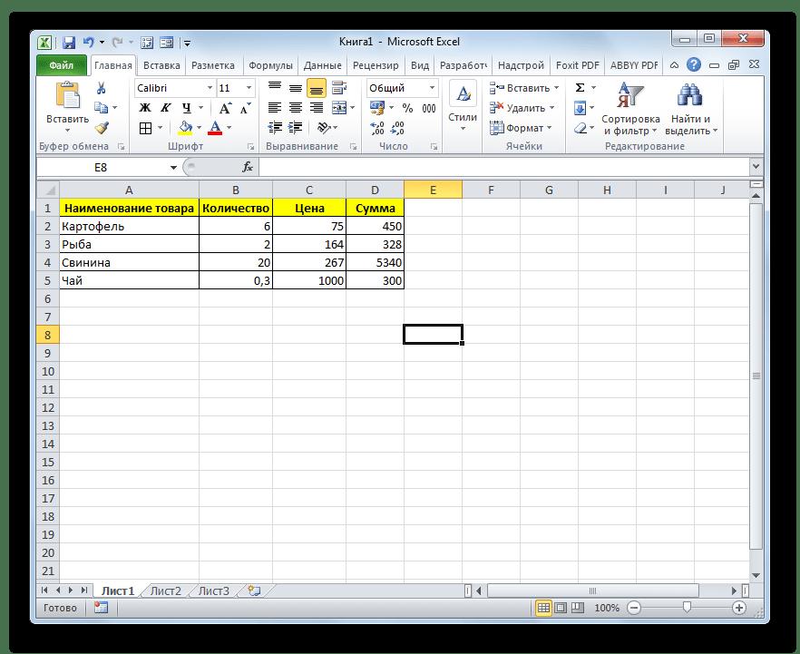 Таблица отформатированв в Microsoft Excel