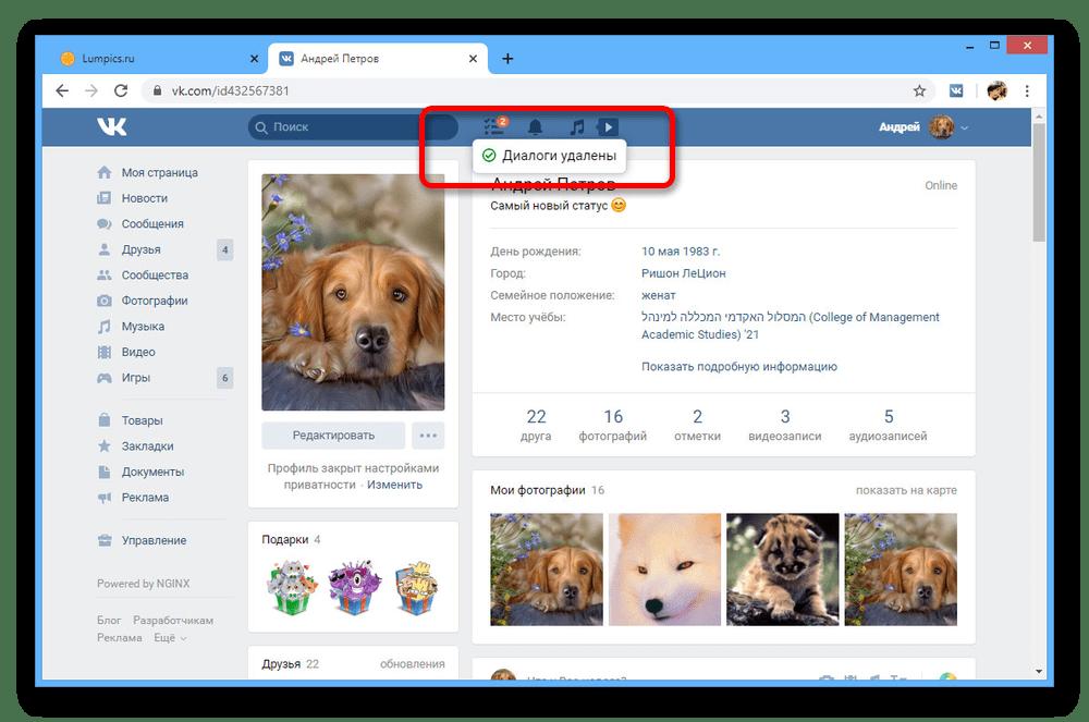 Успешное удаление диалогов на сайте ВКонтакте