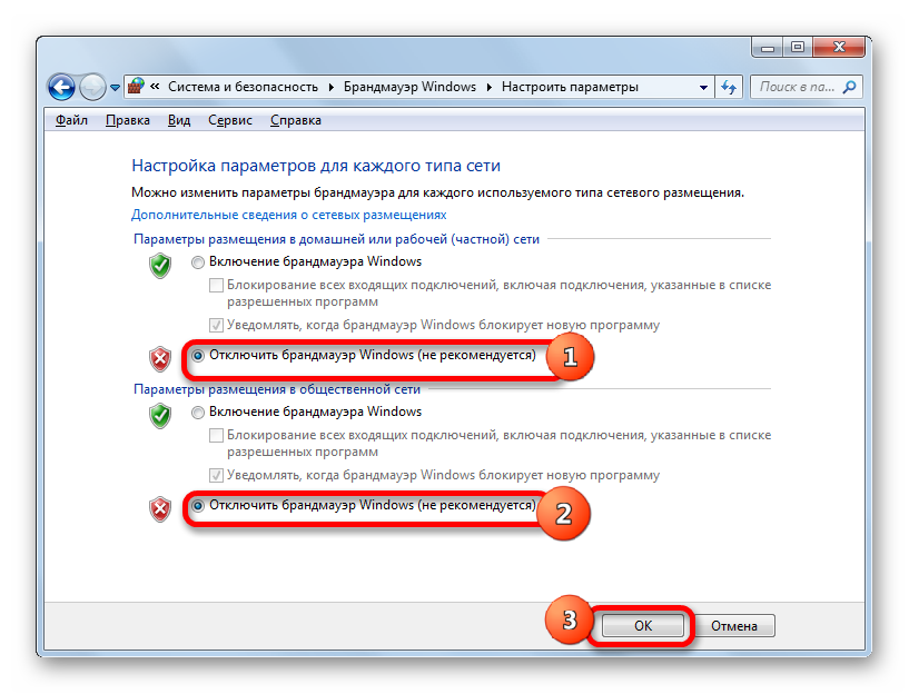 Отключение брандмауэра окно включения и отключения Брандмауэра Windows в Windows 7