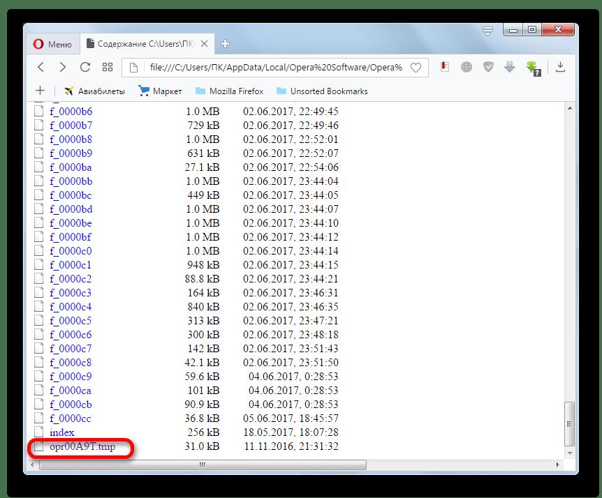 Открытие файла TMP в окне браузера Opera