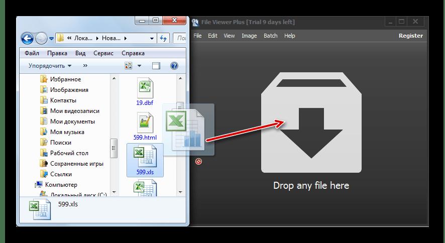 Перетягивание файла XLS из окна проводника Windows в окно программы File Viewer Plus