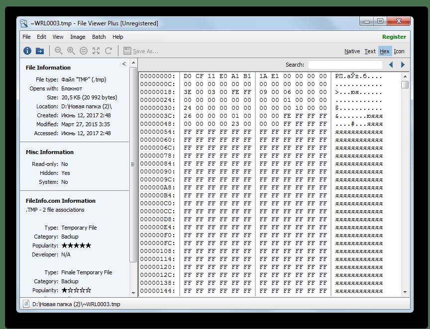 Просмотру шестнадцатеричного кода файла TMP в File Viewer Plus