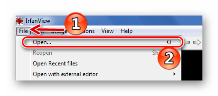 Стандартное открытие файла в IrfanView