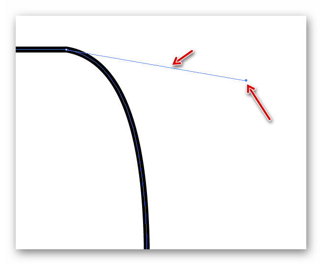 Управляющая точка и линия в Illustrator