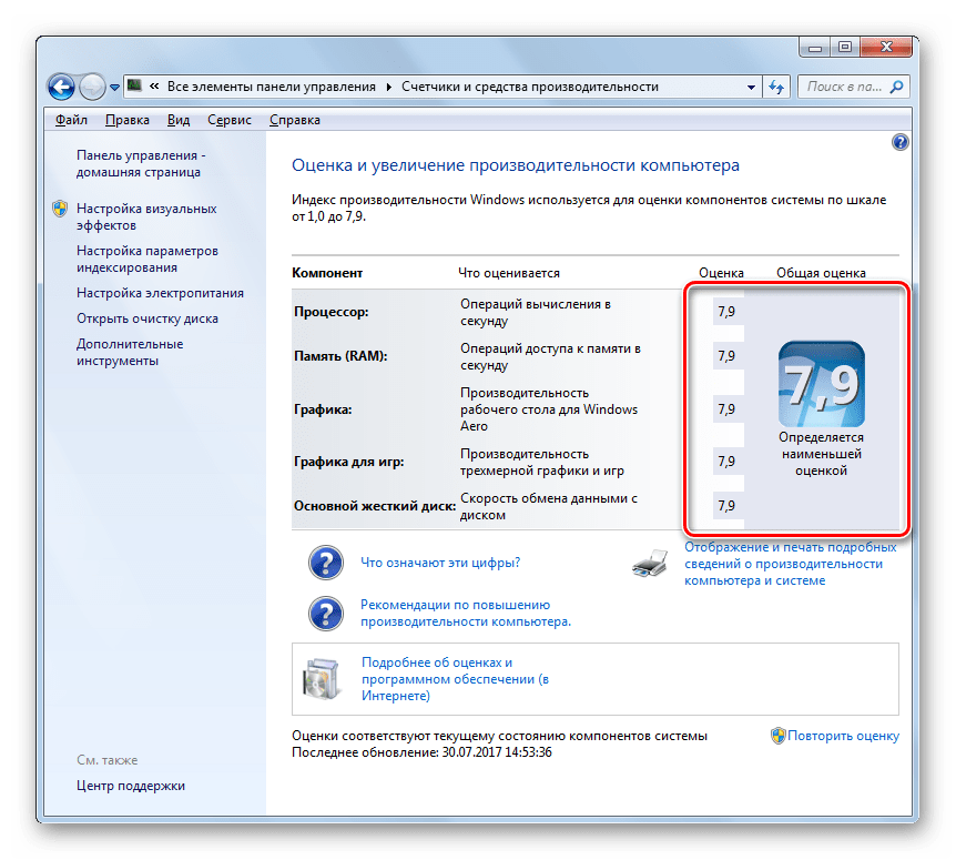 Данные индекса производительности измененыв окне Оценка и увеличение производиетельности компьютера в Windows 7