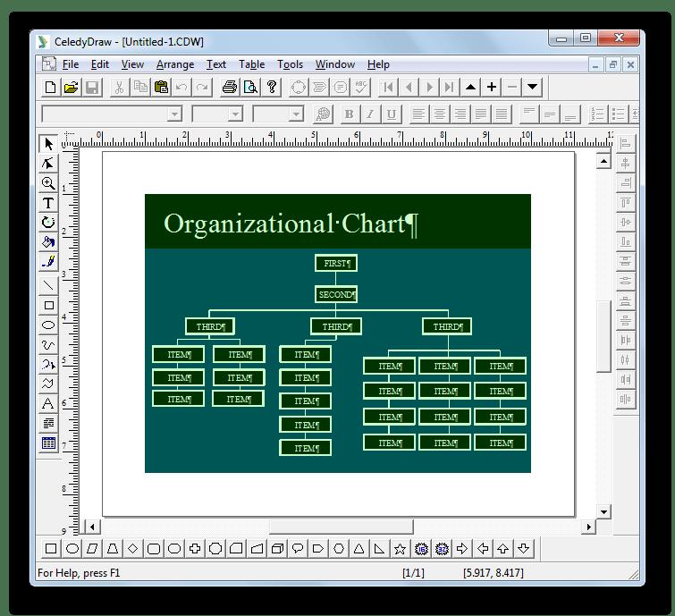 Файл CDW открыт в программе CeledyDraw