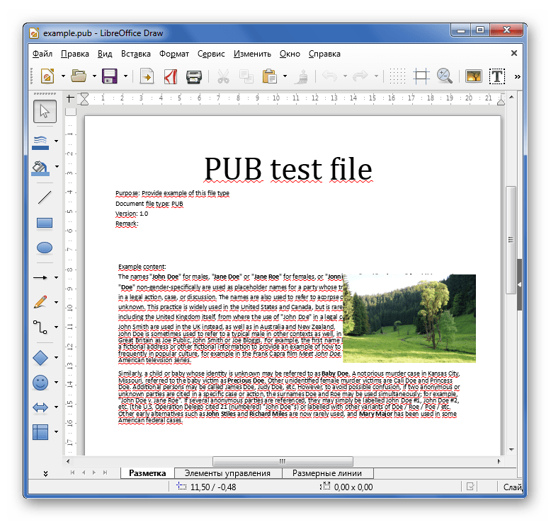Просмотр PUB в LibreOffice