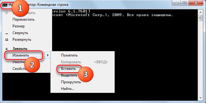 Вставка команды в командную строку в Windows 7