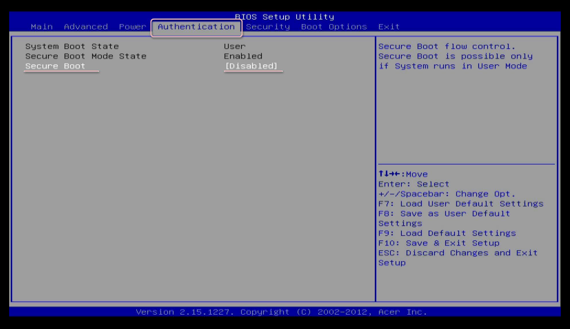 Отключаем UEFI на Acer