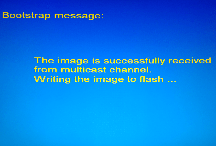 MAG 250 BIOS Bootstrap message Writing image to flash